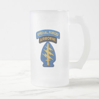 Special Forces Groups Green Berets SF SFG Frosted Glass Beer Mug
