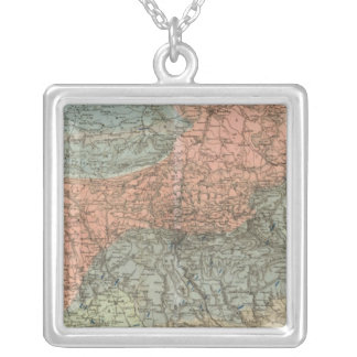 Special Map of Giant Mountains Square Pendant Necklace