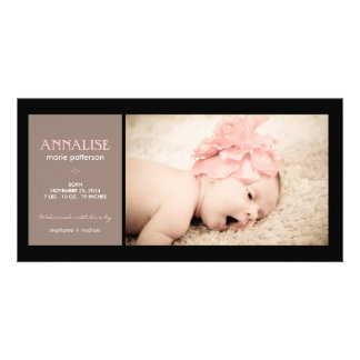 Special Moment Photo Baby Girl Birth Announcement Photo Card