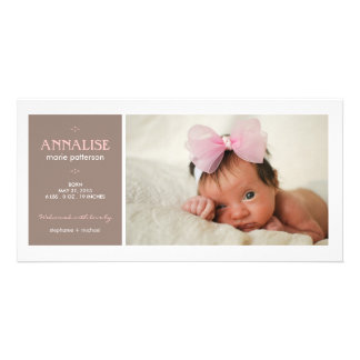 Special Moment Photo Baby Girl Birth Announcement Photo Greeting Card