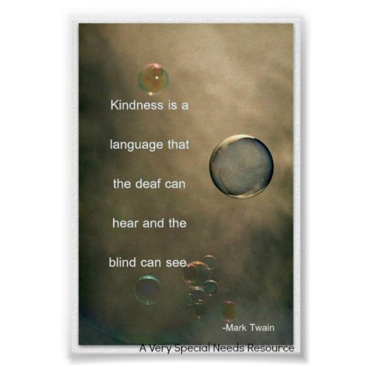 Special Needs Kindness is a Language Poster