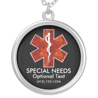 Special Needs Medical   Necklace: Customizable Silver Plated Necklace