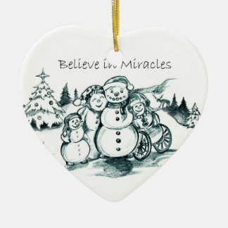 Special Needs Snowman Family Christmas Ornament