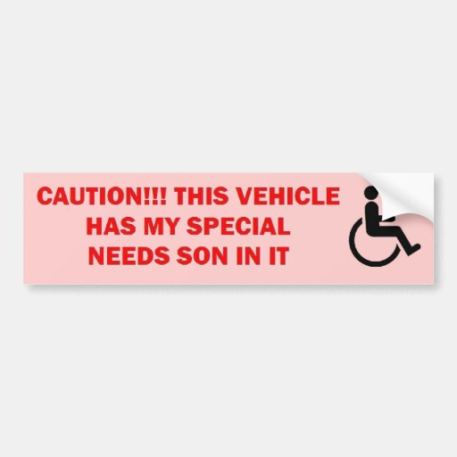 Special Needs Son in Vehicle Bumper Stickers