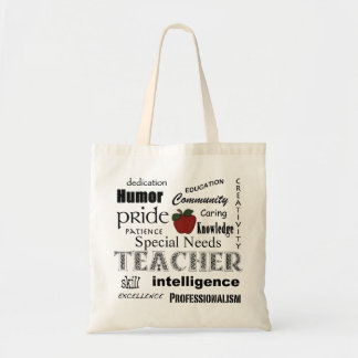 Special Needs Teacher-Red Apple+Customizable Budget Tote Bag