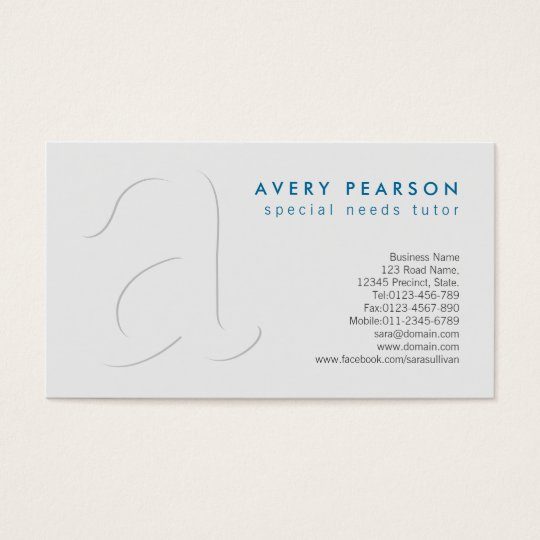 Special Needs Tutor Shadow Monogram BusinessCard Business Card