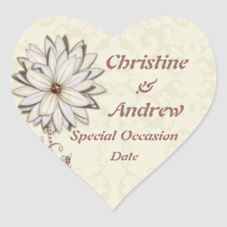 Special Occasion Elegant Floral Design Heart Stickers