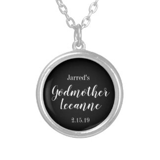 special personalized god mother silver plated necklace