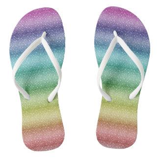 Special Rainbow Custom Adult, Slim Straps Flip Flops