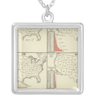 special school's statistics silver plated necklace