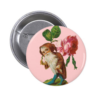 Special Vintage Gnome With A Pink Rose 6 Cm Round Badge