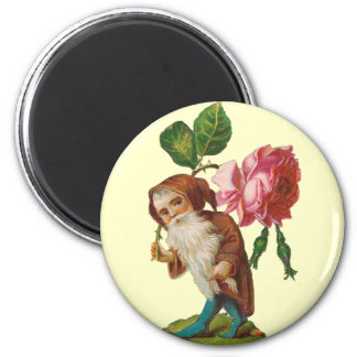 Special Vintage Gnome With A Pink Rose 6 Cm Round Magnet