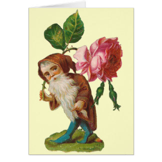 Special Vintage Gnome With A Pink Rose Greeting Cards