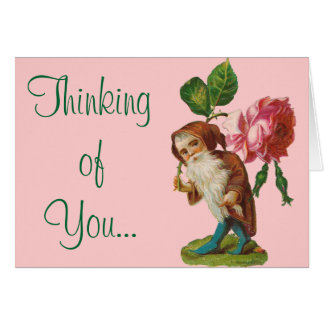 Special Vintage Gnome With A Pink Rose Greeting Card