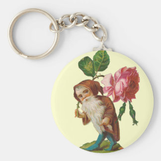 Special Vintage Gnome With A Pink Rose Keychains