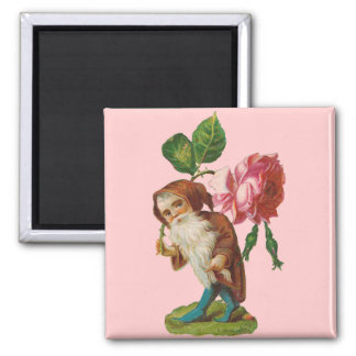 Special Vintage Gnome With A Pink Rose Magnets