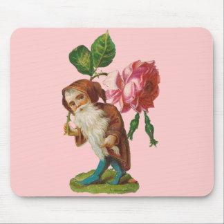 Special Vintage Gnome With A Pink Rose Mousepad
