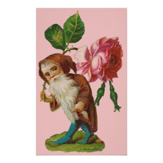 Special Vintage Gnome With A Pink Rose Print