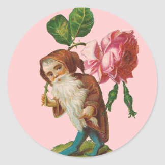 Special Vintage Gnome With A Pink Rose Round Sticker