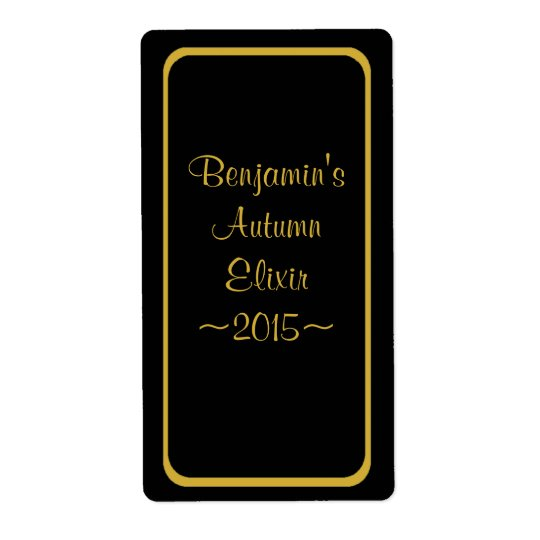 Special Wine Bottle Label Gold on Black Shipping Label