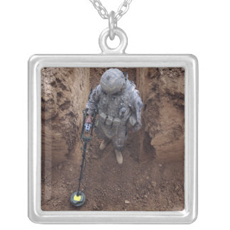 Specialist searches for a weapons cache square pendant necklace