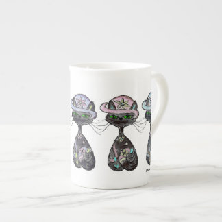 Specialty Mug Bone China black cats wear bonnets