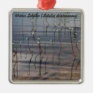 Species: Water Lobelia Silver-Colored Square Decoration