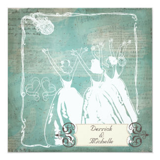 """Speckled Blue Toss the Bouquet Wedding Invite 5.25"""" Square Invitation Card"""
