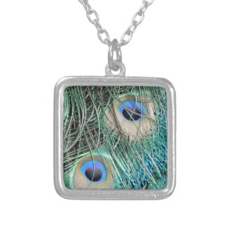 Speckled Peacock Eyes Silver Plated Necklace