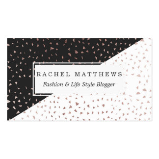 Speckled Rose Gold Flakes on Black White Geometric Pack Of Standard Business Cards