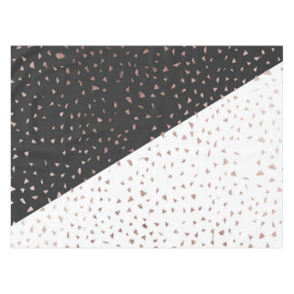 Speckled Rose Gold Flakes on Black White Geometric Tablecloth