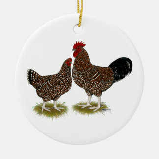 Speckled Sussex Chickens Christmas Ornament