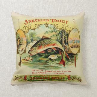 Speckled Trout Vintage Cigar Box Label Cushion