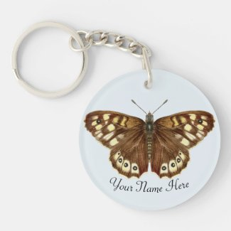 Speckled Wood Butterfly Key Ring
