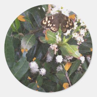 Speckled Wood Butterfly Round Sticker