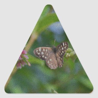 Speckled Wood Butterfly Triangle Sticker