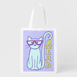 Spectacle Cat with Purple Glasses with Read sign Reusable Grocery Bag