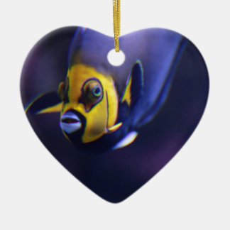 spectacled angelfish ceramic heart decoration
