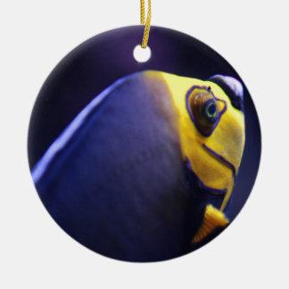 spectacled angelfish round ceramic decoration
