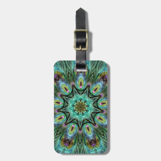 Spectacular Color Peacock Feather Kaleidoscope Luggage Tag