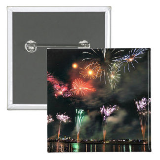Spectacular Fireworks 15 Cm Square Badge