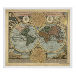 Spectacular Map of the World by Homann 1716 Poster