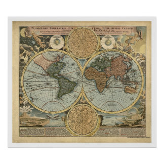 Spectacular Map of the World by Homann 1716 Print
