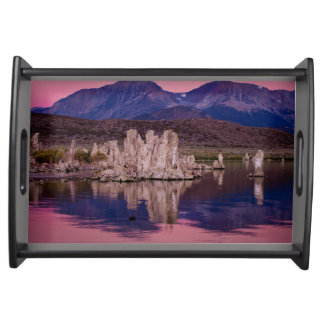 Spectacular Mono Lake In The Shadow Serving Tray