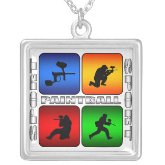 Spectacular Paintball Silver Plated Necklace