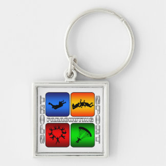 Spectacular Parachuting Silver-Colored Square Key Ring