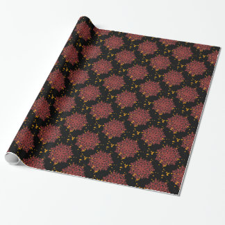 Spectacular red kaleidoscope gold daisies on black wrapping paper