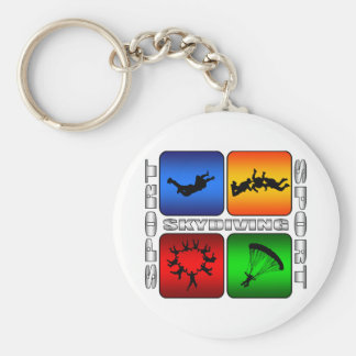 Spectacular Skydiving Basic Round Button Key Ring