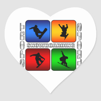Spectacular Snowboarding Heart Stickers
