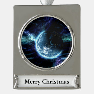 Spectacular Space Starry Aurora Nebula Silver Plated Banner Ornament